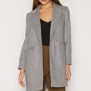 Topshop Meg Grey Collar ZIP Pocket Coat
